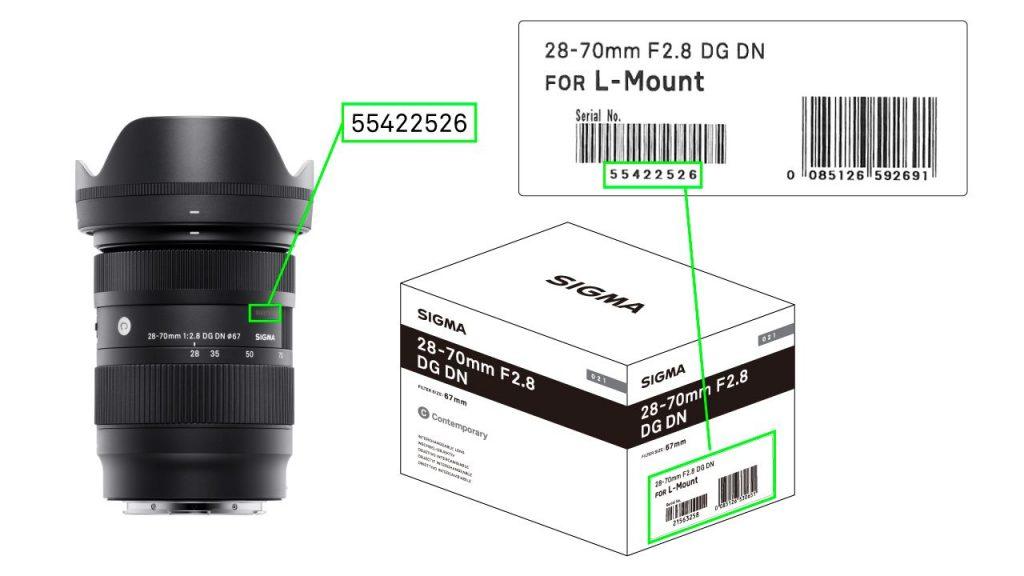 Pozicija serijskog broja SIGMA 28-70mm F2.8 DG DN Contemporary